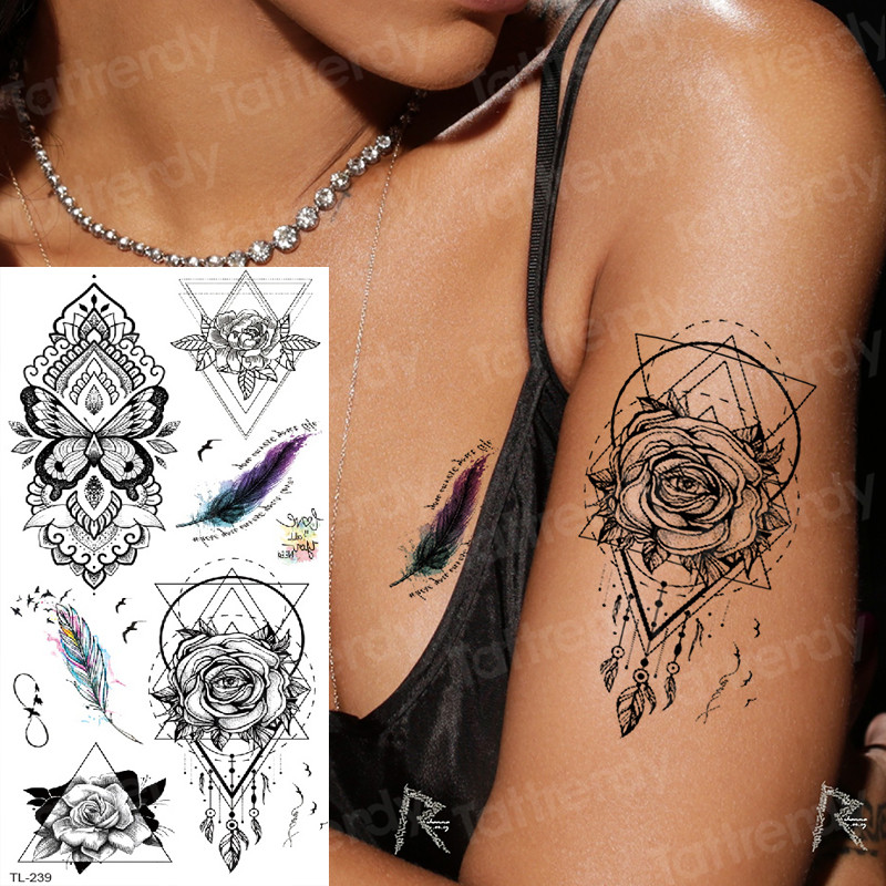 Tatoo Arm Girls Henna Stickers For Hands Sleeve Black Tattoos Sketch Vintage Temporary Tattoos Removable Unique Flower Tattoos