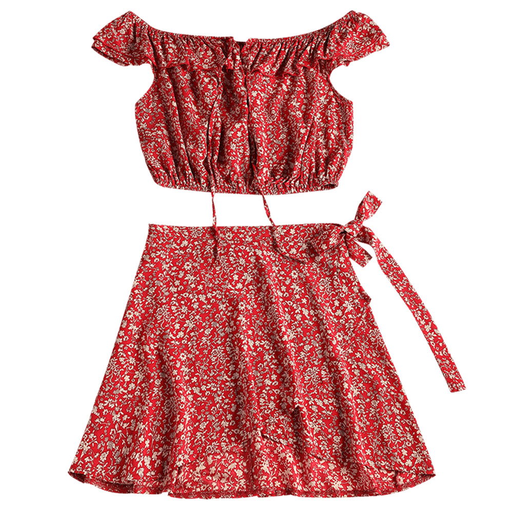 Zan.style Two Piece Shawl Floral Women Flare Dress Halter V Neck High Waist Flower Party Dress With Chiffon Shawl Women Suit Women's Clothing