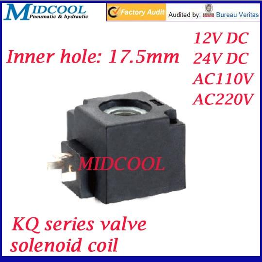 KQ series magnetic DIN43650A plug 3 solenoid valve coil Inside diameter 17.5mm 12v 24v 110v 220v large type pneumatic gas water oil valve solenoid coil ac 220v connector plug 3 din43650a inner hole diameter 16mm high 43mm
