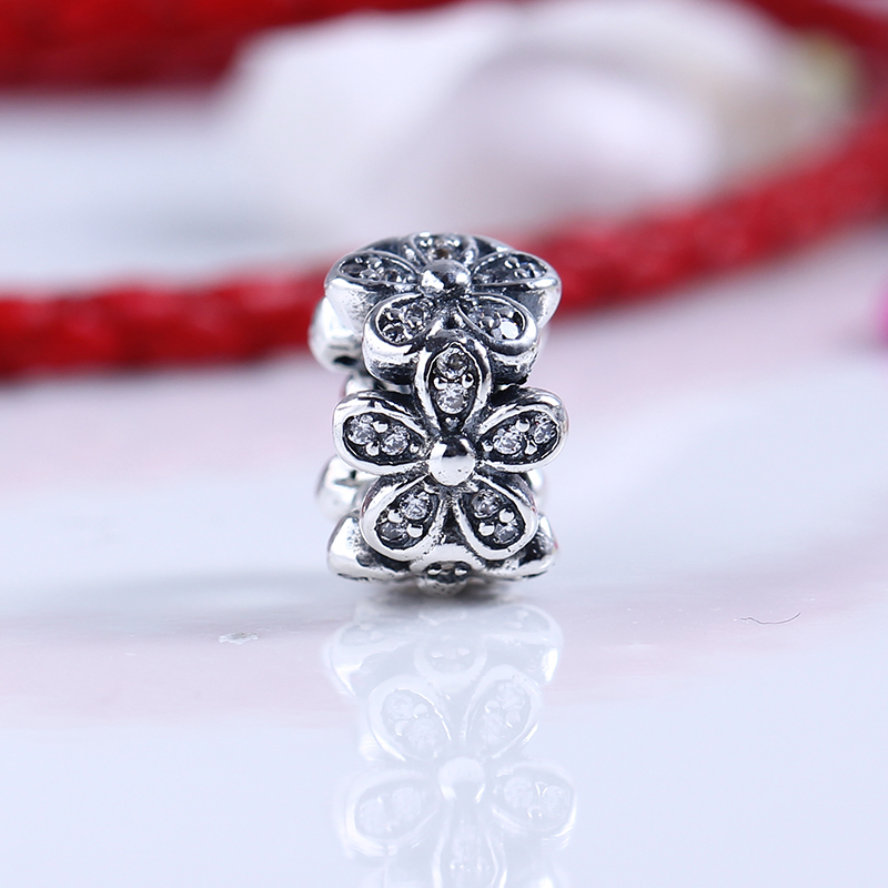 100% 925 Sterling Silver Fit Original Pandora Bracelet LuxuryDazzling Daisies Spacer CZ Charm Beads for Jewelry Making