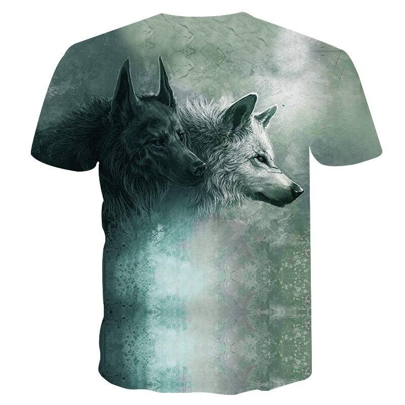 Wolf Print Funny T shirts Cool 3D Print T-shirt Men/Women T-shirt Men/Women Short Sleeve Summer Round Neck T shirts M-4XL