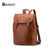 Baigio Men S Backpack 100 Genuine Leather Men S Travel Bags Laptop Backpack Leather Shoulder Bag