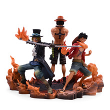 3 Styles Anime One Piece Luffy Sabo Portgas.D.Ace PVC Action Figure Doll Collectible Model Baby Toy Christmas Gift For Children