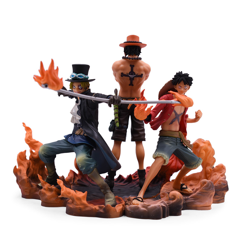 3 Styles Anime <font><b>One</b></font> <font><b>Piece</b></font> <font><b>Luffy</b></font> Sabo Portgas.D.Ace PVC Action Figure Doll Collectible Model Baby Toy Christmas Gift For Children image