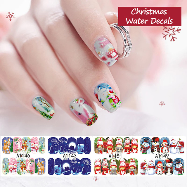 12sheetspack christmas nails stickers cartoon nail foils decal beauty snowman for nails art new