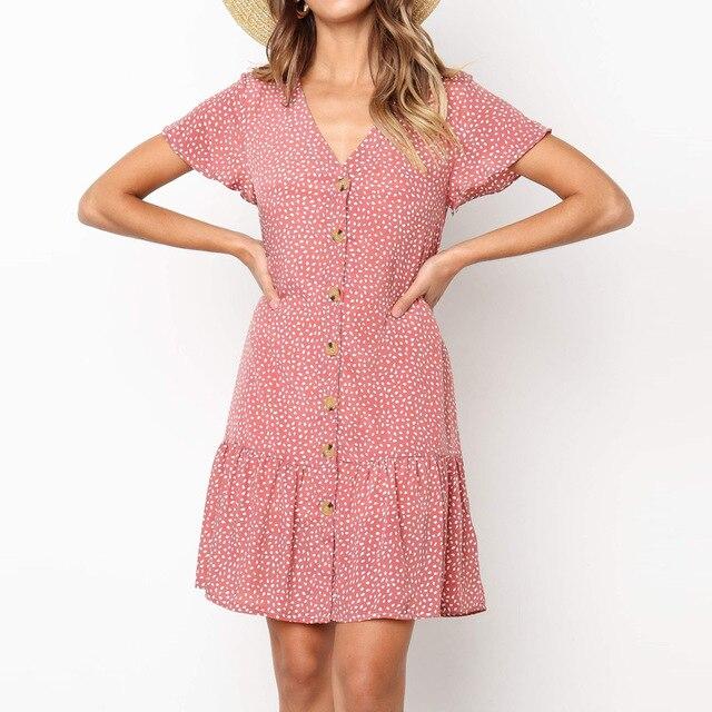 Summer Dress Women Dot Print V Neck Beach Dress Flare Short Sleeve Mini Dress Plus Size Button Party Sundress  Robe Femme S-XL