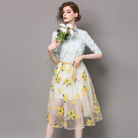 2018 New Spring Fashion High Quality 2 Pieces Turn Down Collar Long Shirt Mesh Floral Embroidery