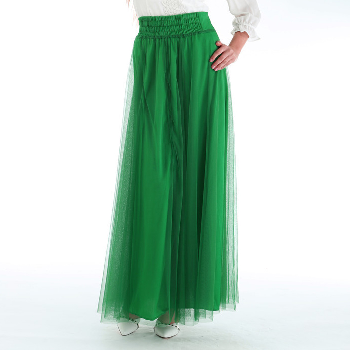 Summer Style Muslim Blue Long Skirt Fashion 2015 Spring Bohemian Black Tutu Ball Gown Mesh Pleated Skirts Womens Saia WK36 - N-DEER-N store