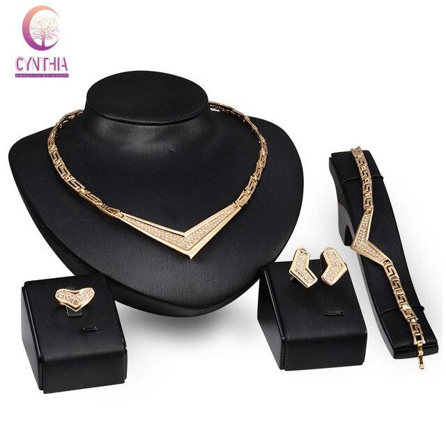 Fashion Women  Gold Plated Full Rhinestone V pendant Africa Dubai Wedding Party Necklace Jewelry Set