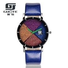 Новая Мода GUOTE Марка Многоцветный Песчаных Набрать Случайный Кварцевые Часы Женщины Кожаный Ремешок Платье Часы Relogio Feminino Часы