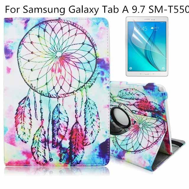 360 Degree Rotating Flip Folio Swivel Stand Smart Case Cover For Samsung Galaxy Tab A 9.7 inch SM-T550 Tablet+Screen Protector