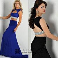 Sexy Two Piece Black Mermaid Royal Blue Prom Dress Women Formal Dresses Evening Gowns 2015 Backless Vestidos de Fiesta Gala