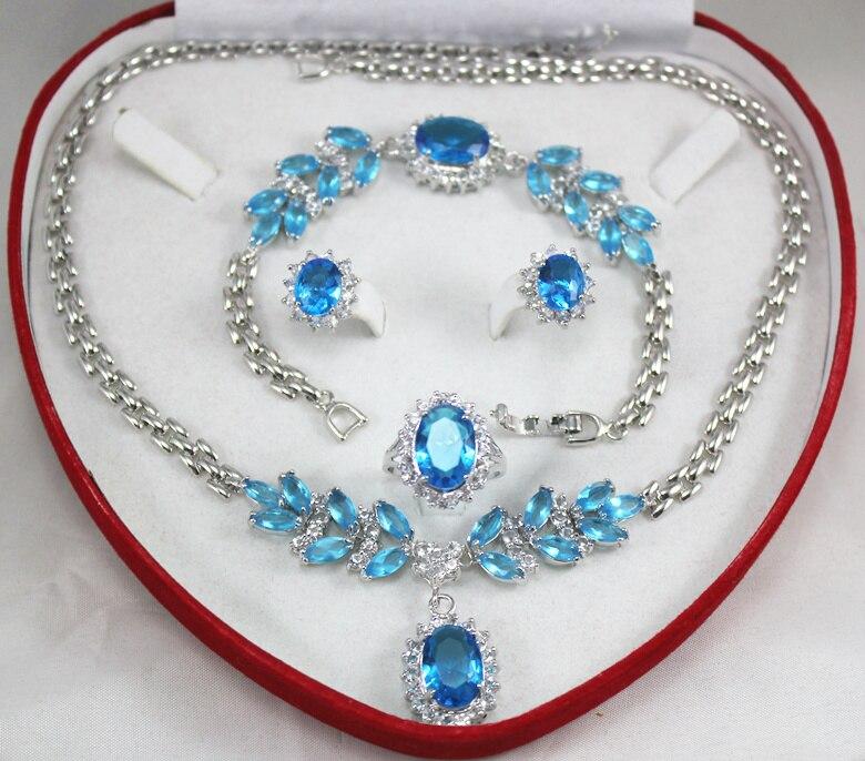 Prett Lovely Women's Wedding shipping set 0034 zircon necklace, earing, bracelet , ring set