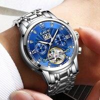 LIGE Men Watch Mechanical Tourbillon Luxury Fashion Brand Stainless Steel Sports Watches Mens Automatic Watch Relogio Masculino
