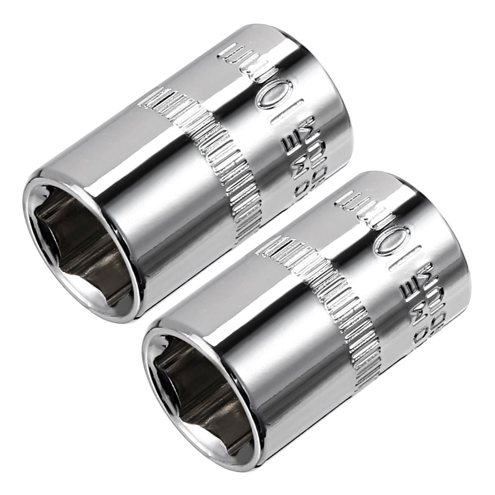 Uxcell 2Pcs 1/4-inch Drive 10mm Cr-V 6-Point Shallow Socket For Heavy-duty Pneumatic Tools Hot Sale