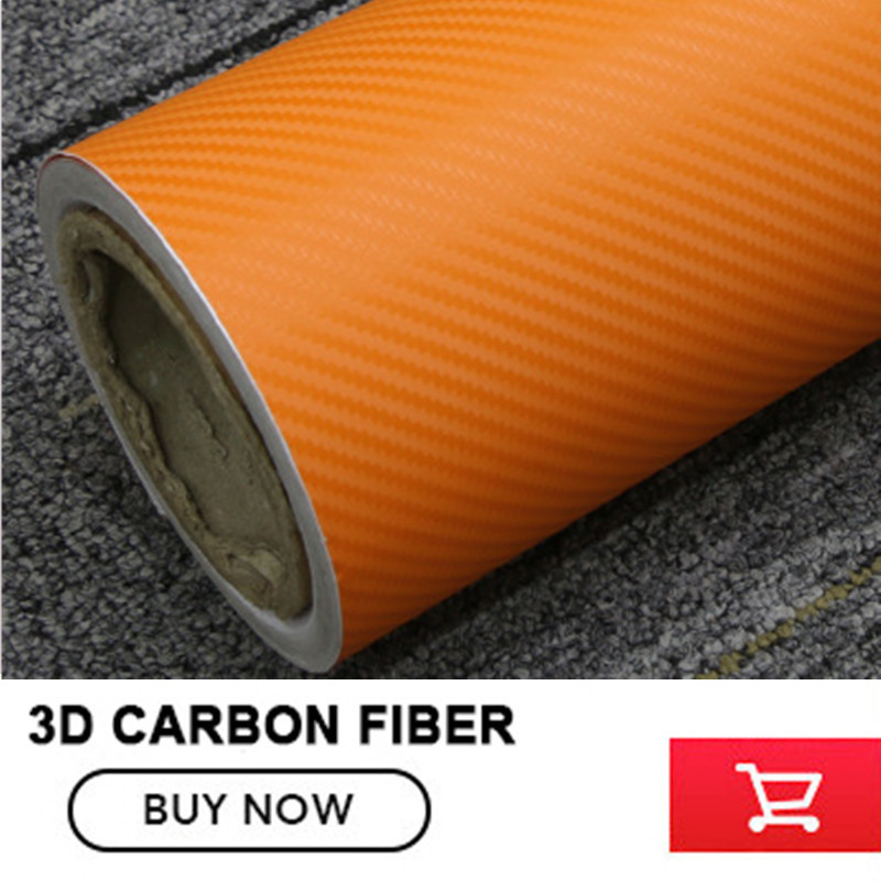 Air Release Orange 3D Carbon Fiber Vinyl High Flexible Orange 3D PVC Car Body Wrapping Carbon Fiber Film