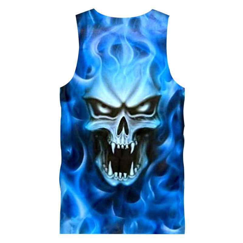 ملابس رجالية صيفية جديدة من UJWI ملابس هيب هوب ملابس داخلية للياقة البدنية كمال الأجسام قمصان للرجال بطباعة ثلاثية الأبعاد بلوزة بشعلة زرقاء على شكل جمجمة 5XL