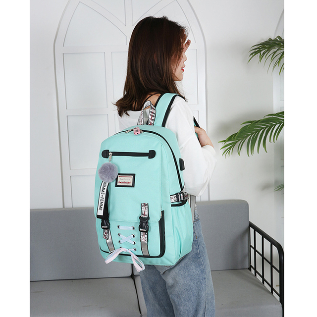 Pink Canvas Backpack Women School Bags for Teenage Girls Preppy Style Large Capacity USB Back Pack Rucksack Youth Bagpack 2019 Ladies multi-functional bag