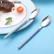цена на LANSKYWARE Lightweight Fruit Fork 304 Stainless Steel Dessert Salad Fork With Wheat Straw Handle Kitchen Food Pick Dinner Set