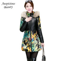 Women Winter PU Leather Cotton Jacket Long Large Real Fur Hooded Parka Thick Warm Print Coat