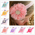 1pcs Baby headband lace flowers Cheap Hair Jewelry Newborn Baby Hiar Bows Hair Band Baptism Christening Baby Shower Gift
