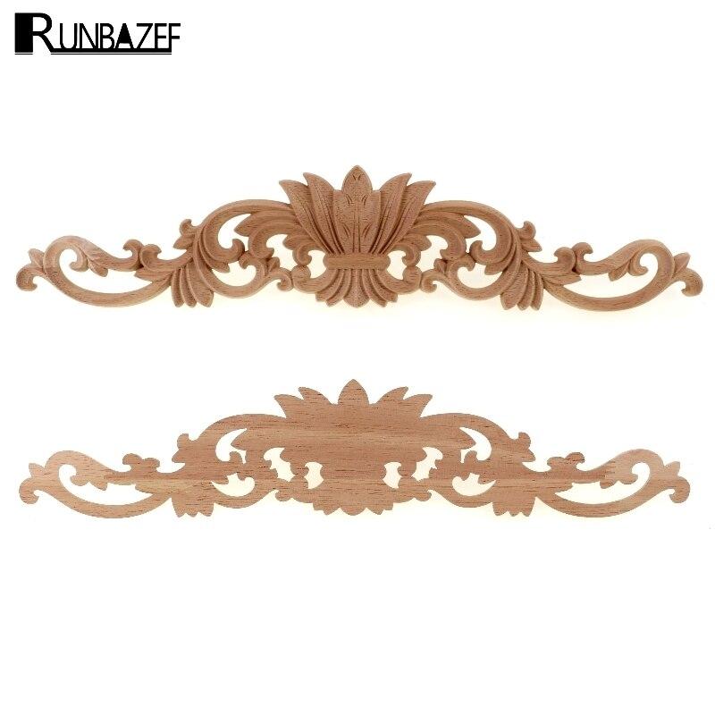 RUNBAZEF Long Wood Decal Carved Oak Door Cabinet Decorative Head Flower Cap Home Decoration Accessories Kawaii Miniature Mini