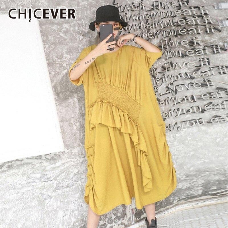 CHICEVER Summer Vintage Solid Patchwork Irregular Ruffles Women Dress O Neck Short Sleeve Loose Plus Size
