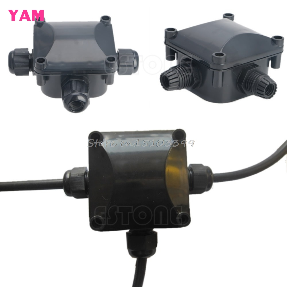 IP68 Waterproof Protection Building DTY Connectors 3 Cable Wire Junction Box G08 Drop ship waterproof black ip68 plastic cable wire connector gland electrical 3 cable junction box with terminal
