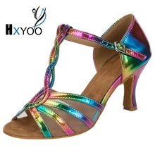 HXYOO 2017 New Arrived Glitter Rainbow Colorful Latin Shoes Women Salsa Dance Shoes Ballroom Tango Mesh Soft Sole WK024