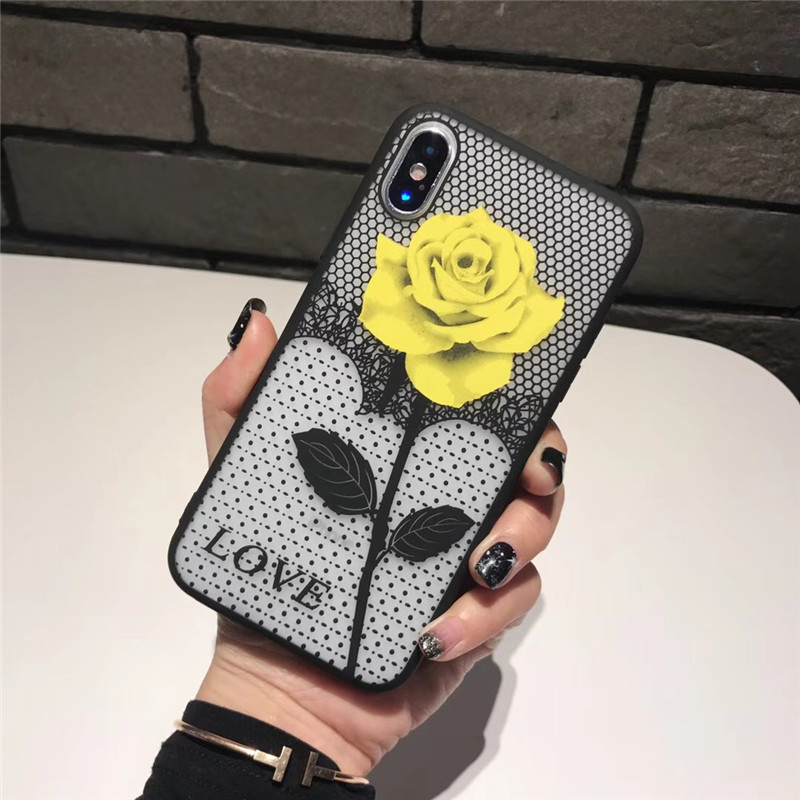 Tfshining Luxury Phone Cases For iPhone X 6 6s 7 7 8 Plus Cute Rose Flowers TPU Hard Cover Case For iPhone 8 7 6 s Plus carcasa  (2)