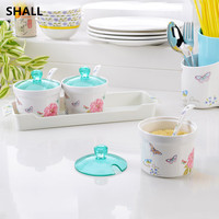 SHALL Melamine Multifunction 3Pcs With Tray Seasoning Cans Castor Cruet Storage Tank Kitchen Tools Spice Jar Sauce Pot Box