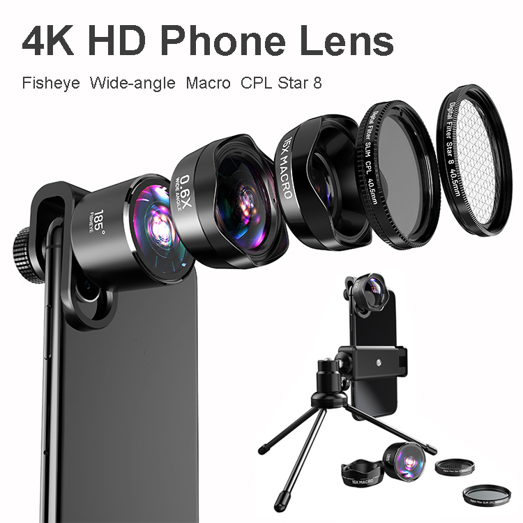 Hartig 4 K Hd Dslr Mobiele Telefoon Camera Lens Gaat Branden: Foto Statief Cpl Starlight Telefoon Filter + Awesome Fisheye & Brede Agnel & 15x Macro & Lens