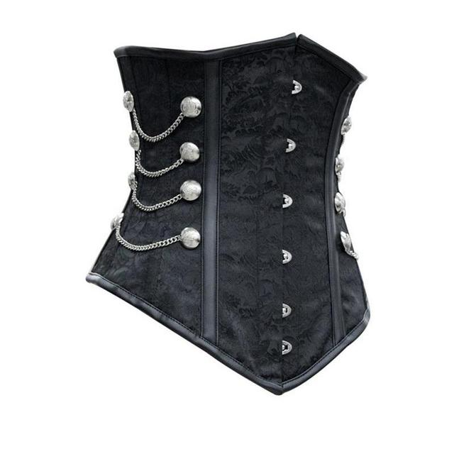 New 2017 Lace Up Black Satin Underbust women Corset with Chains gothic LC5320 latex waist cincher waist corsets Noble
