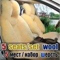 Chegada nova real inverno pele de ovelha longa tampa de assento do carro capas de almofada cinco lugares para um conjunto de manter o calor e confortável