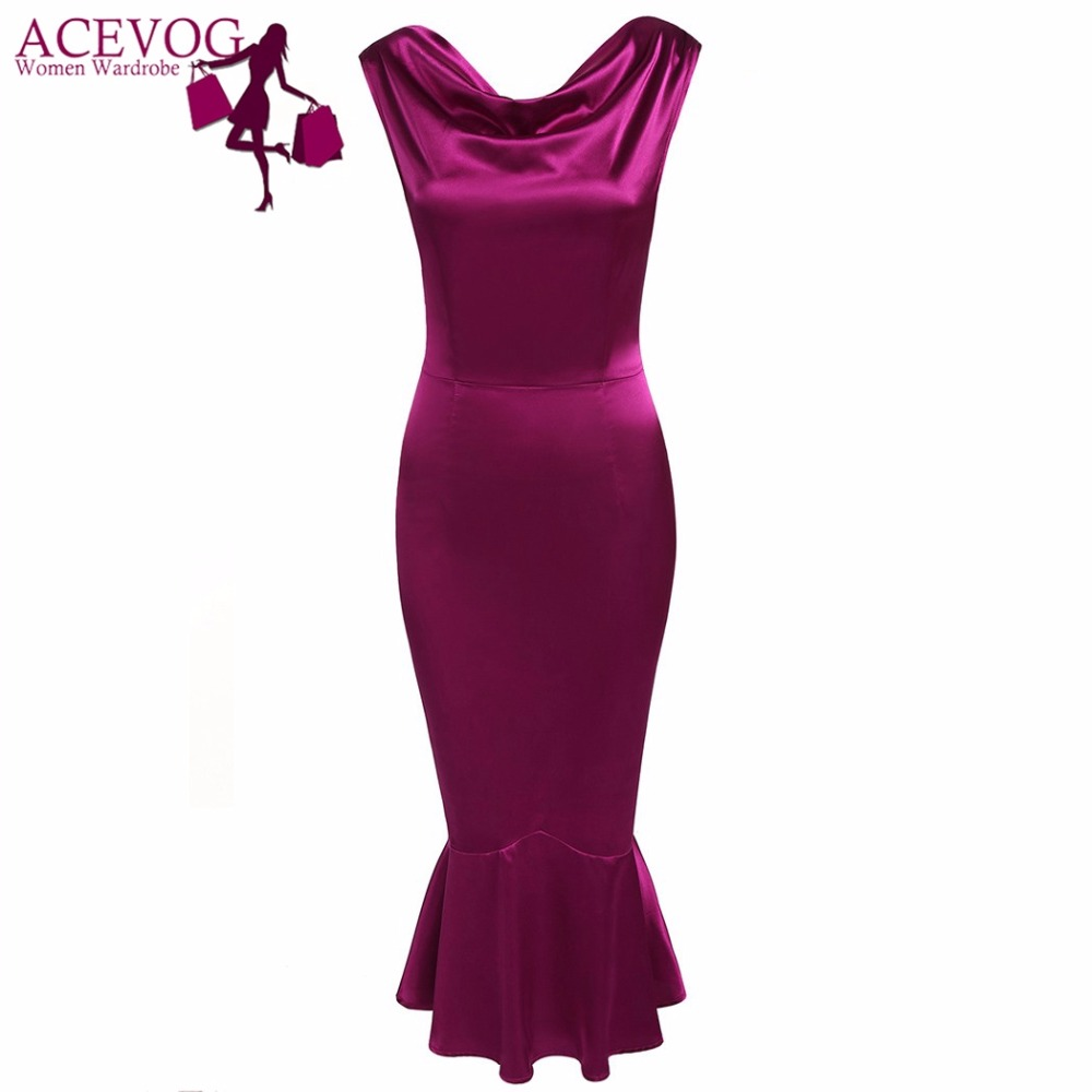 ACEVOG Women Pencil Bodycon Dress Boat Collar Sleeveless Backless Mermaid Evening Slim Party Evening Special Occasion Dresses