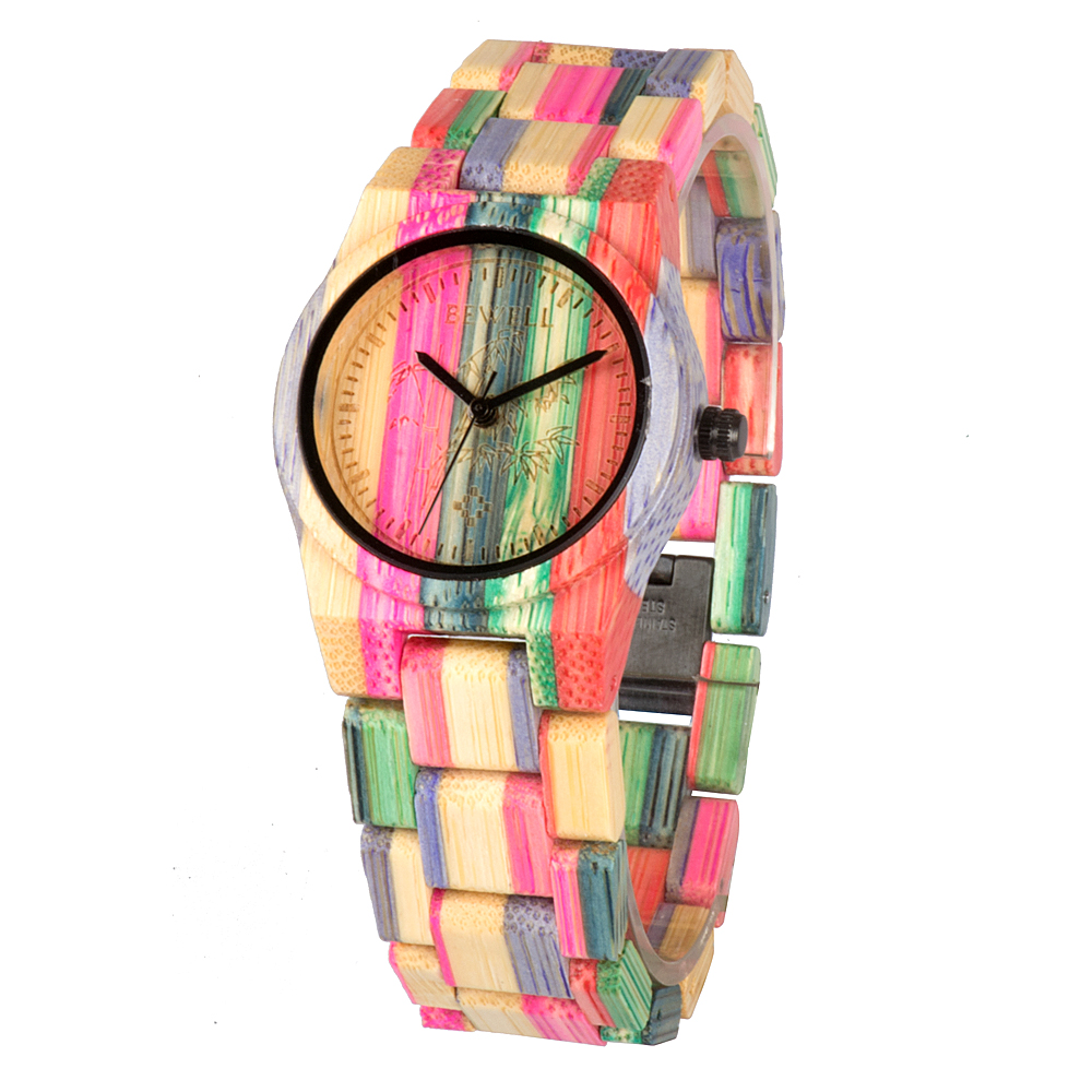 BEWELL Casual Watches Women Quartz Female Luxury Colorful Bamboo for 105DL Natural 100%Handmade