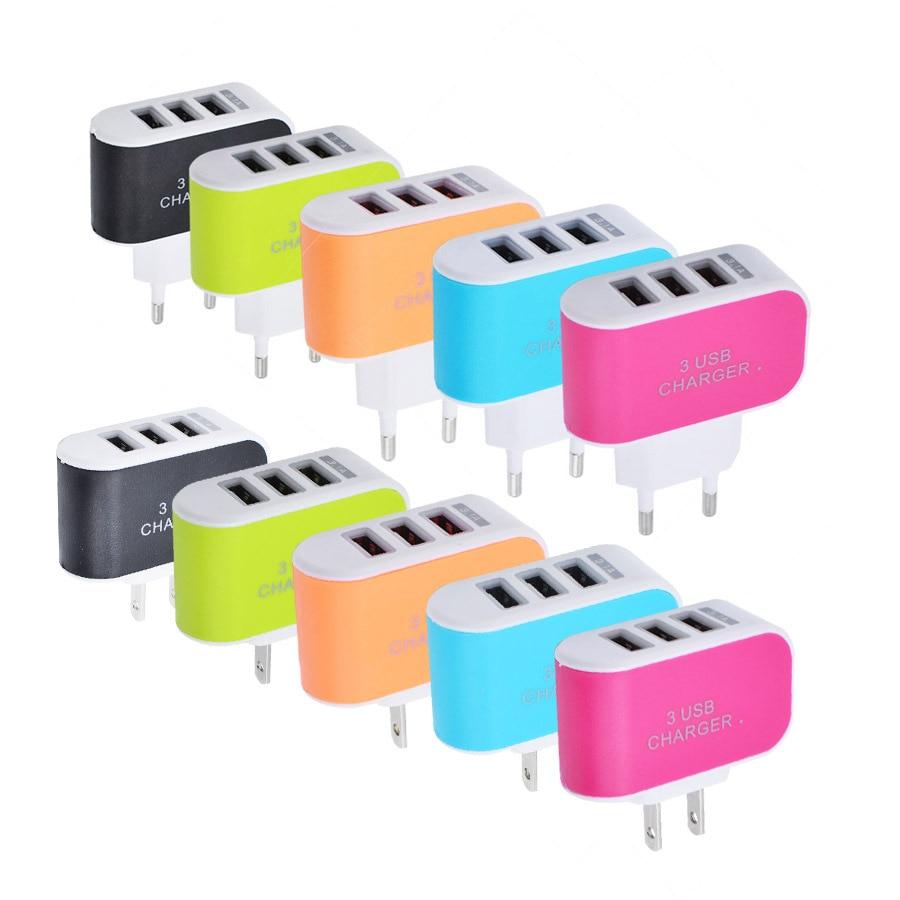 Universa 3 Ports USB Charger Mobile Phone US Plug EU Plug Charger Travel Wall Charger
