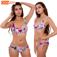 цены New Rose Print Bikini Women Swimsuit Plus Size Underwire Bathing Suit M-3XL Girl Adjustable Straps Swimwear Side Tie Bikini Set