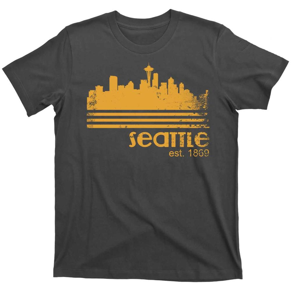 City of Seattle Washington Portland Pacific Ocean Vintage Coffee 80S T Shirt Tee 2019 New Design Summer Short Sleeve Men T Shirt image