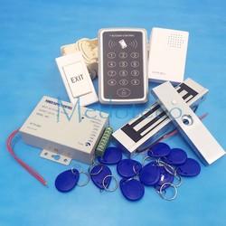 El mejor sistema completo de Control de acceso de puerta Rfid 125Khz Kit de sistema de Control de acceso de tarjeta Rfid + cerradura magnética eléctrica sin bloqueo Nc Strike