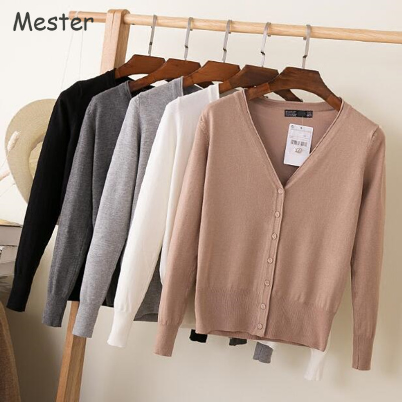 Spring Cardigan Women Korean V Neck Knitted Cardigan Feminino Ladies Long Sleeve Loose Buttons Cardigan Thin Coat Plus Size