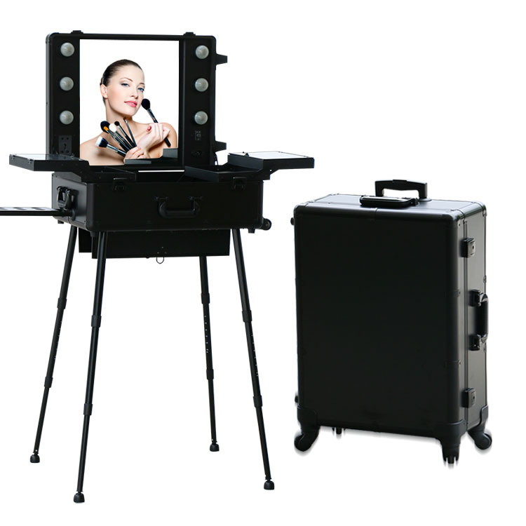 Brilliant Design Stylish Earance High Quality Aluminum Finished Professional Makeup Station With Mirror Lights And Stands In Cosmetic Bags Cases From