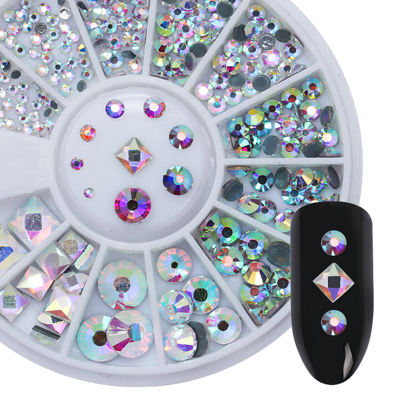 AB Color Flame Nail Art 3D Decorations in Wheel Acrylic Nail Rhinestones Flat Bottom Round Square Nail Decoration Body Art 1 Box 1 box square rivet nail studs rhinestones 3mm flat bottom gold silver black decoration in wheel manicure 3d nail art decoration