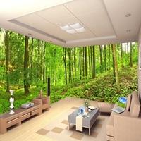 Custom 3D Three dimensional Mural Wallpaper Living Room Bedroom Sofa TV Background Wallpaper Green Trees Forest Photo Wallpaper