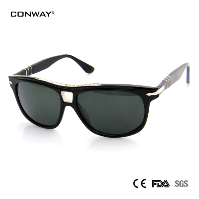 CONWAY sunglasses woman 2016 acetate persoling sunglasses brand designer sunglasses round glass lens black color