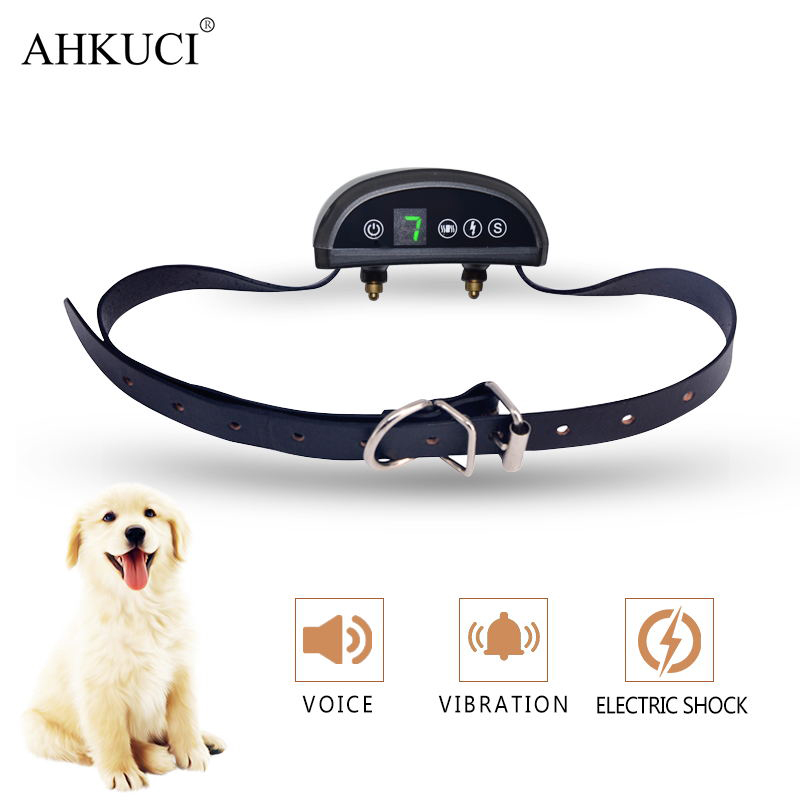 AHKUCI Pet Dog Training Collar Cowhide Electric Adjustable Level Static Shock Vibration Rainproof Rechargeable Anti Bark Device dog care training collar