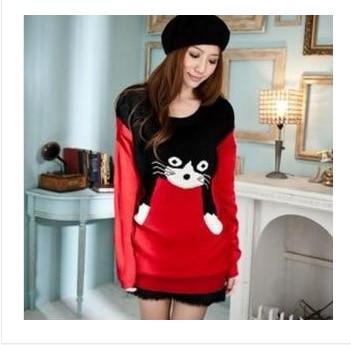 Women knitted jumper medium/long with cat pattern