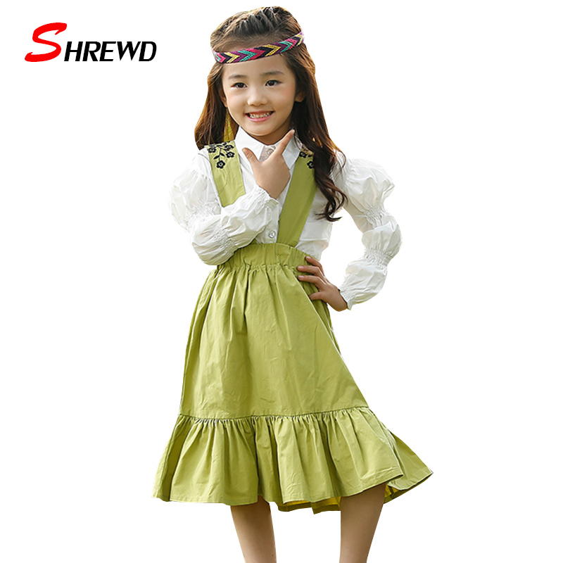 ФОТО Dress Girl Kids 2017 New Spring Fashion Flower Embroidery Girls Party Dress Kids Frills Solid Sleeveless Baby Girl Clothes 4743W