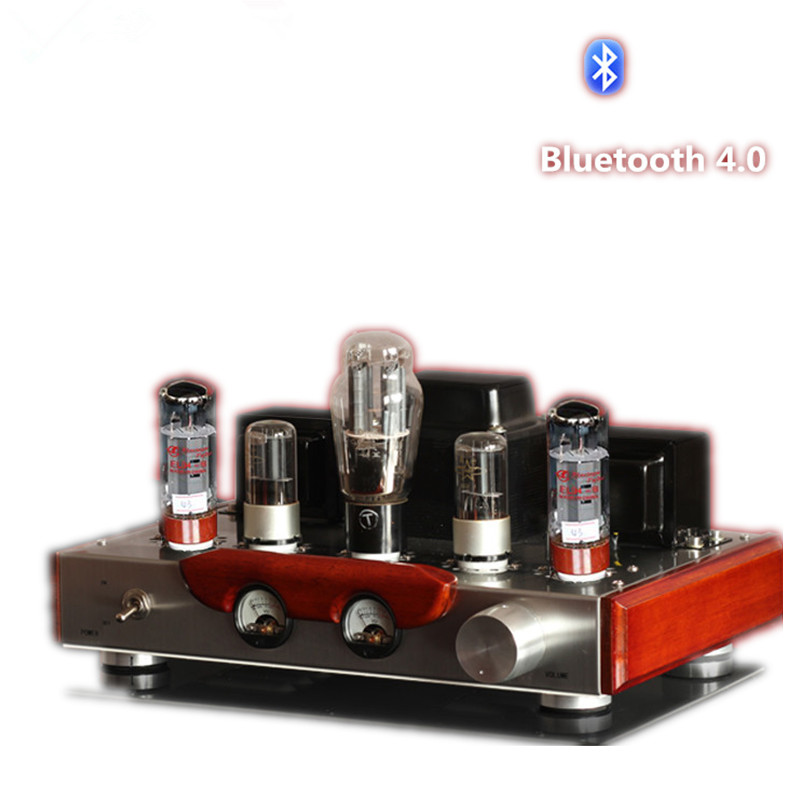 Himing Rivals EL34 Bluetooth 4.0 Tube Amplifier Wood Version Single-Ended Handmade Scaffolding HIFI Finished Class A Amplifier iwistao single ended tube amplifier class a 2x4 8w 6j1 drive 6p6p retro style bamboo wood casing scaffolding soldering