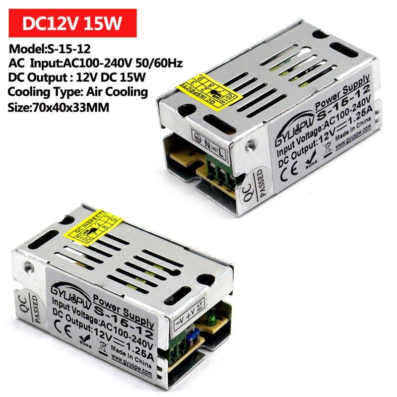 Один Выход Питание DC12V 15 Вт 24 Вт 36 Вт 48 Вт 60 Вт 72 Вт 100 120W 12V светильник ing трансформаторы AC к DC импульсный источник питания для светильник CCTV - Цвет: 15W